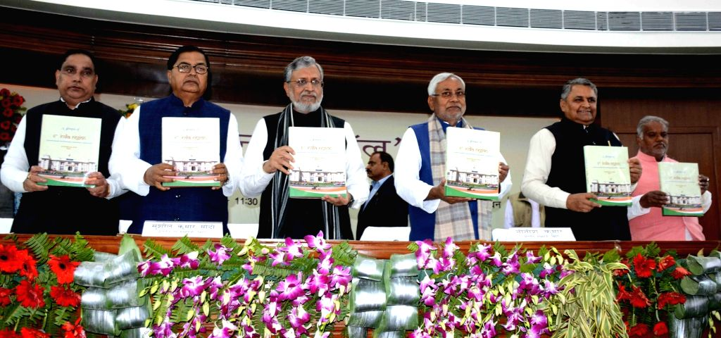 Bihar Chief Minister Nitish Kumar and Deputy Chief Minister Sushil Kumar Modi at the inauguration of central hall of Bihar Legislative Assembly in Patna on Feb 6, 2019. - Nitish Kumar and Sushil Kumar Modi