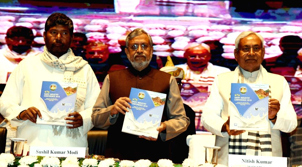 "Bihar Chief Minister Nitish Kumar and Deputy Chief Minister Sushil Kumar Modi at the inauguration of 47th Conference on ""Dairy Industry"" in Patna, on Feb 7, 2019. - Nitish Kumar and Sushil Kumar Modi"