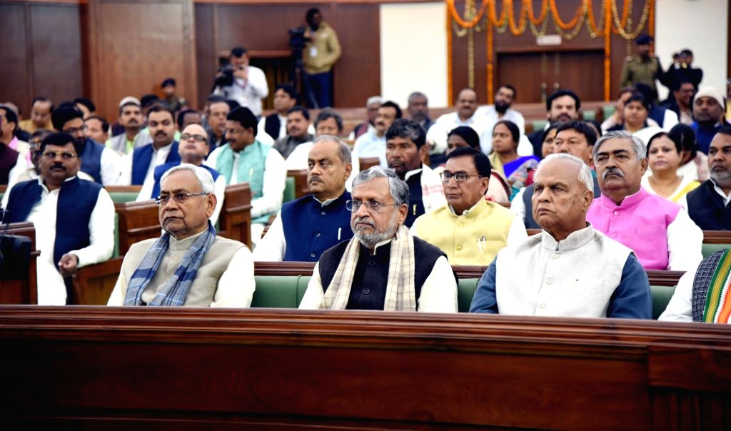 Bihar Chief Minister Nitish Kumar and Deputy Chief Minister Sushil Kumar Modi on the first day of state assembly's budget session in Patna on Feb 11, 2019. - Nitish Kumar and Sushil Kumar Modi