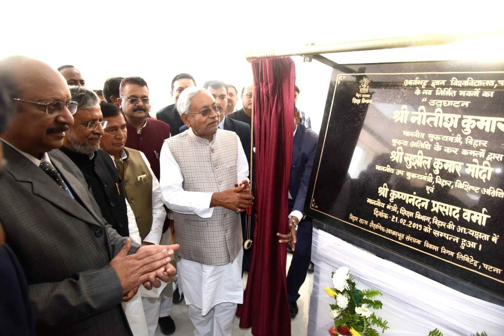 Bihar Chief Minister Nitish Kumar and Deputy Chief Minister Sushil Kumar Modi at the inauguration of new building of Aryabhatta Knowledge University in Patna on Feb 21, 2018. - Nitish Kumar and Sushil Kumar Modi