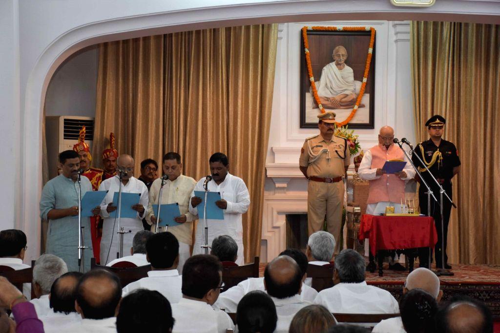 Bihar Chief Minister Nitish Kumar and Deputy Chief Minister Sushil Kumar Modi during Bihar cabinet expansion, in Patna, on June 2, 2019. - Nitish Kumar and Sushil Kumar Modi