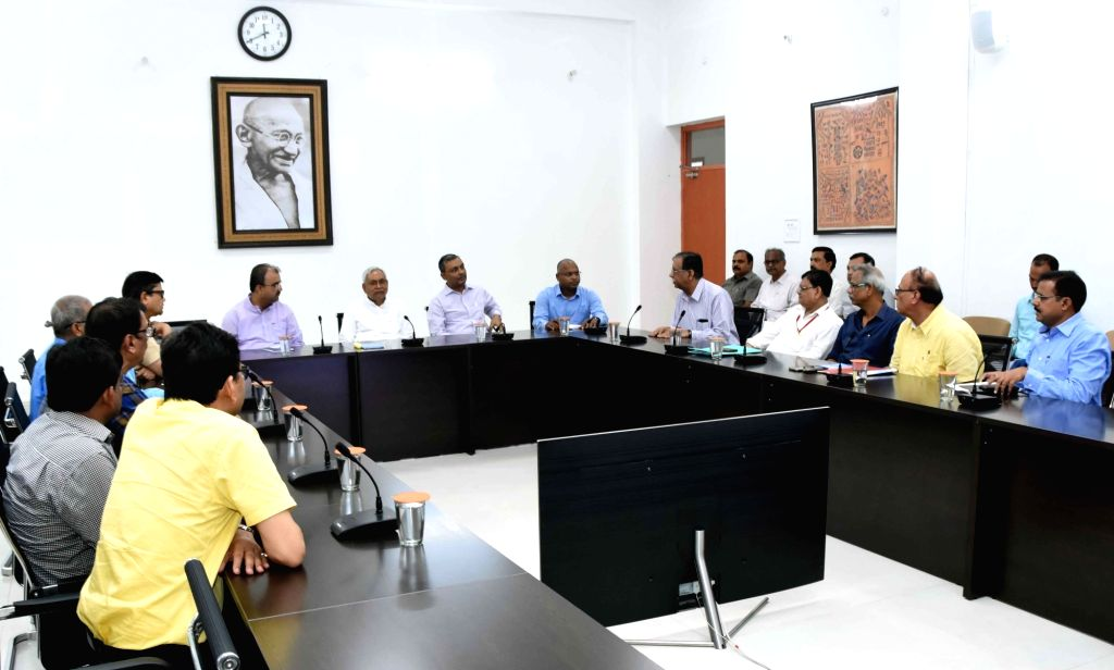 Bihar Chief Minister Nitish Kumar and Health Minister Mangal Pandey hold a meeting with a delegation of health specialists over the situation of AES outbreak in the state, on July 25, 2019. - Nitish Kumar and Mangal Pandey