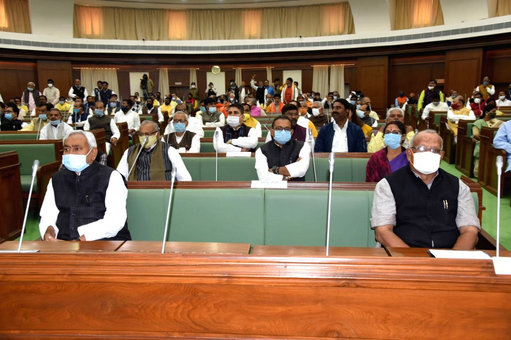 Bihar Chief Minister Nitish Kumar and his deputy Tarkishore Prasad during the joint sitting of both Houses of State legislature, in Patna on Nov 26, 2020. - Nitish Kumar
