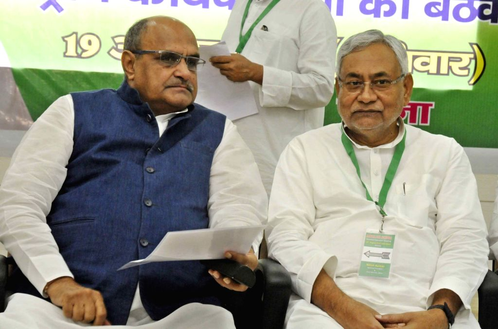 Bihar Chief Minister Nitish Kumar and JD(U) General Secretary and National Spokesperson K. C. Tyagi during the party's national executive meeting in Patna on Aug 19, 2017. - Nitish Kumar