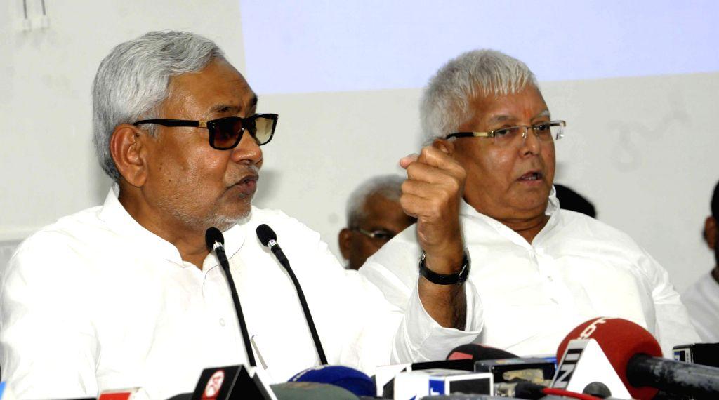 Bihar Chief Minister Nitish Kumar and RJD chief Nitish Kumar addresses a press conference in Patna on Aug 12, 2015. - Nitish Kumar