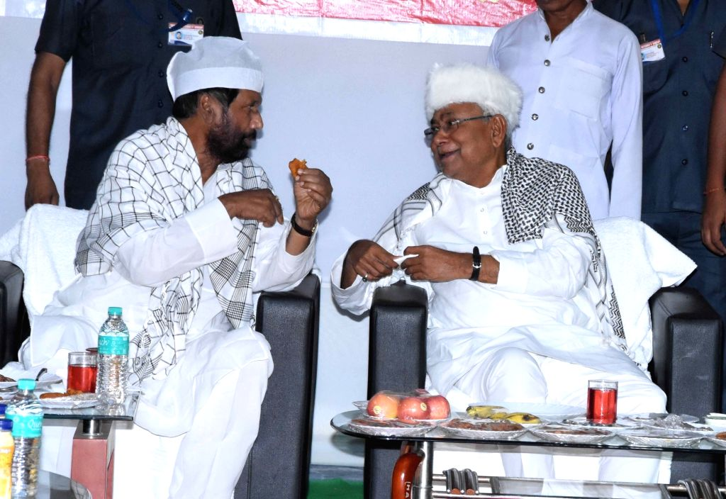 Bihar Chief Minister Nitish Kumar and Union Minister and LJP chief Ram Vilas Paswan during an Iftar party in Patna, on June 2, 2019. - Nitish Kumar