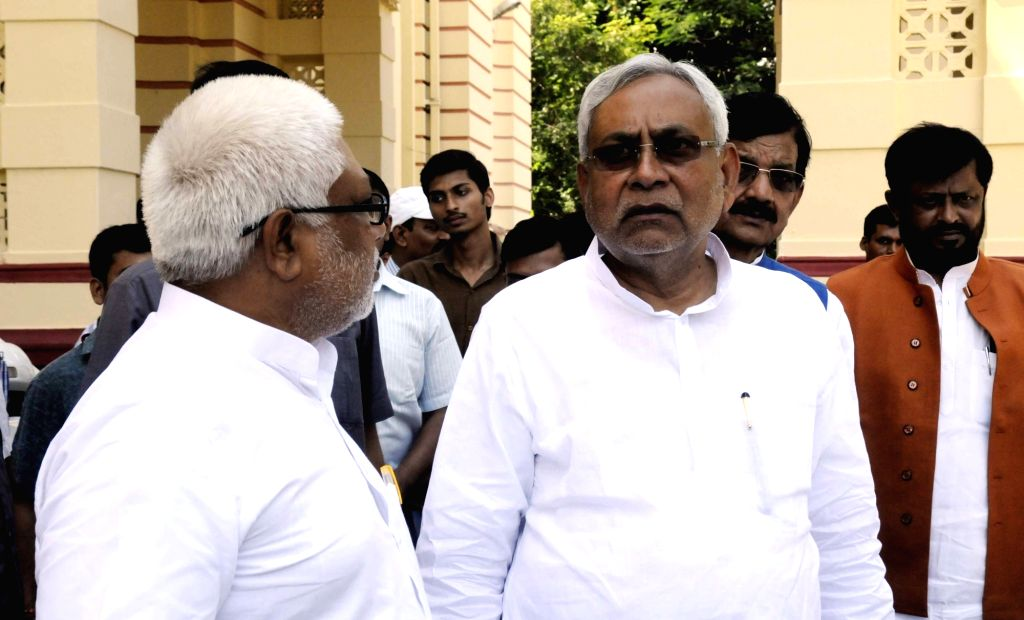 Bihar Chief Minister Nitish Kumar arives at state assembly to attend monsoon session in Patna, on Aug 4, 2016. - Nitish Kumar