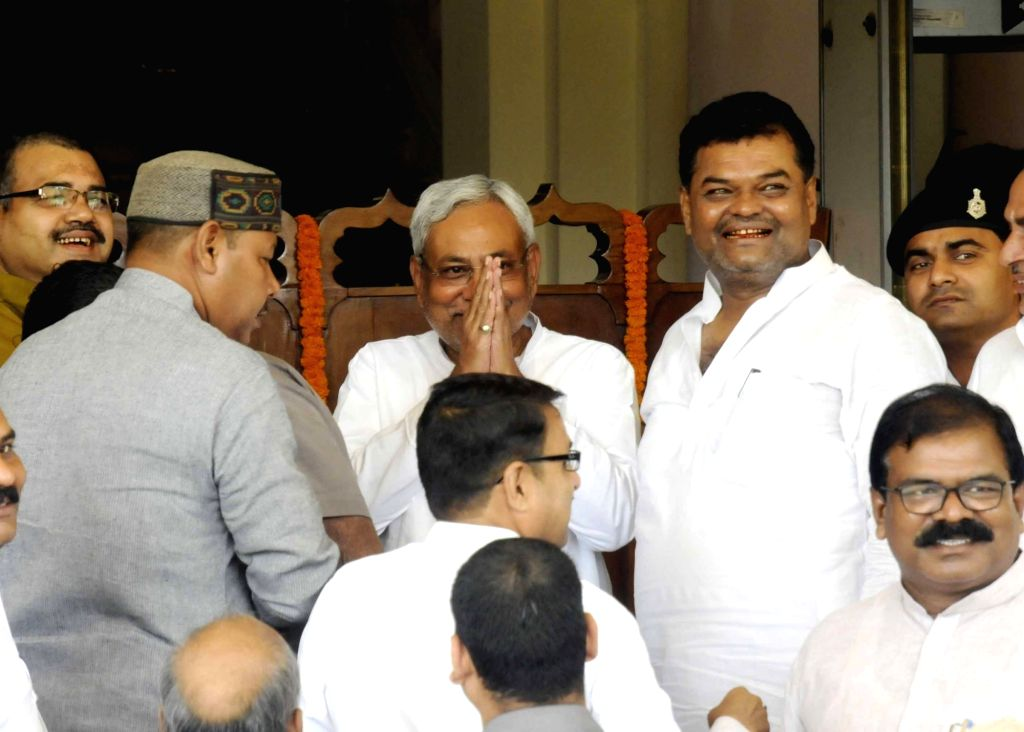 Bihar Chief Minister Nitish Kumar arives at state assembly to attend monsoon session in Patna on Aug 16, 2016. - Nitish Kumar