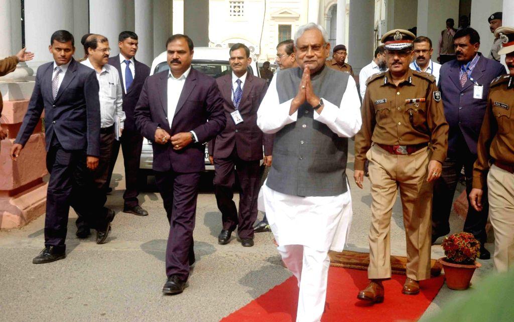 Bihar Chief Minister Nitish Kumar arrives at the secretariat in Patna on Nov 21, 2015.