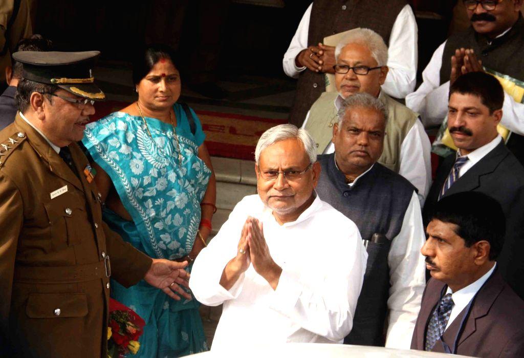 Bihar Chief Minister Nitish Kumar arrives at the Bihar Vidhan Sabha in Patna on Nov 30, 2015. - Nitish Kumar