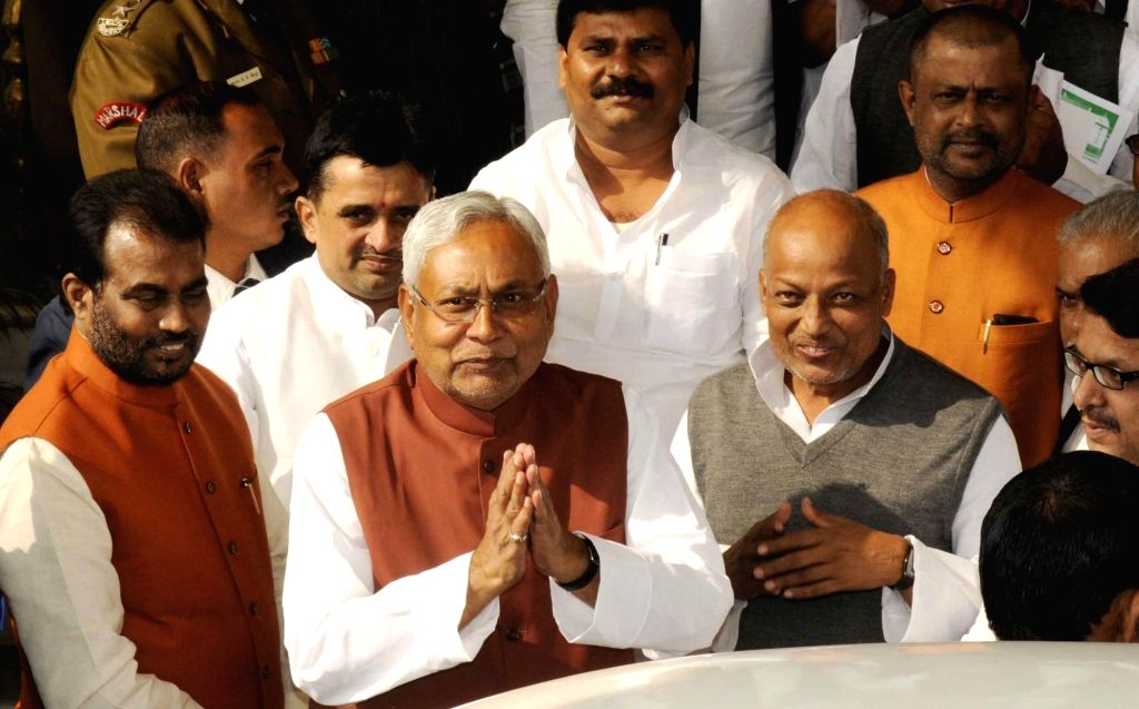 Bihar Chief Minister Nitish Kumar arrives on the first day of Bihar Assembly's winter session in Patna on Nov 25, 2016. - Nitish Kumar