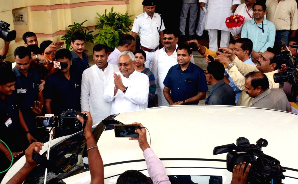 Bihar Chief Minister Nitish Kumar arrives to attend Bihar Assembly Monsoon Session, in Patna on July 25, 2019. - Nitish Kumar