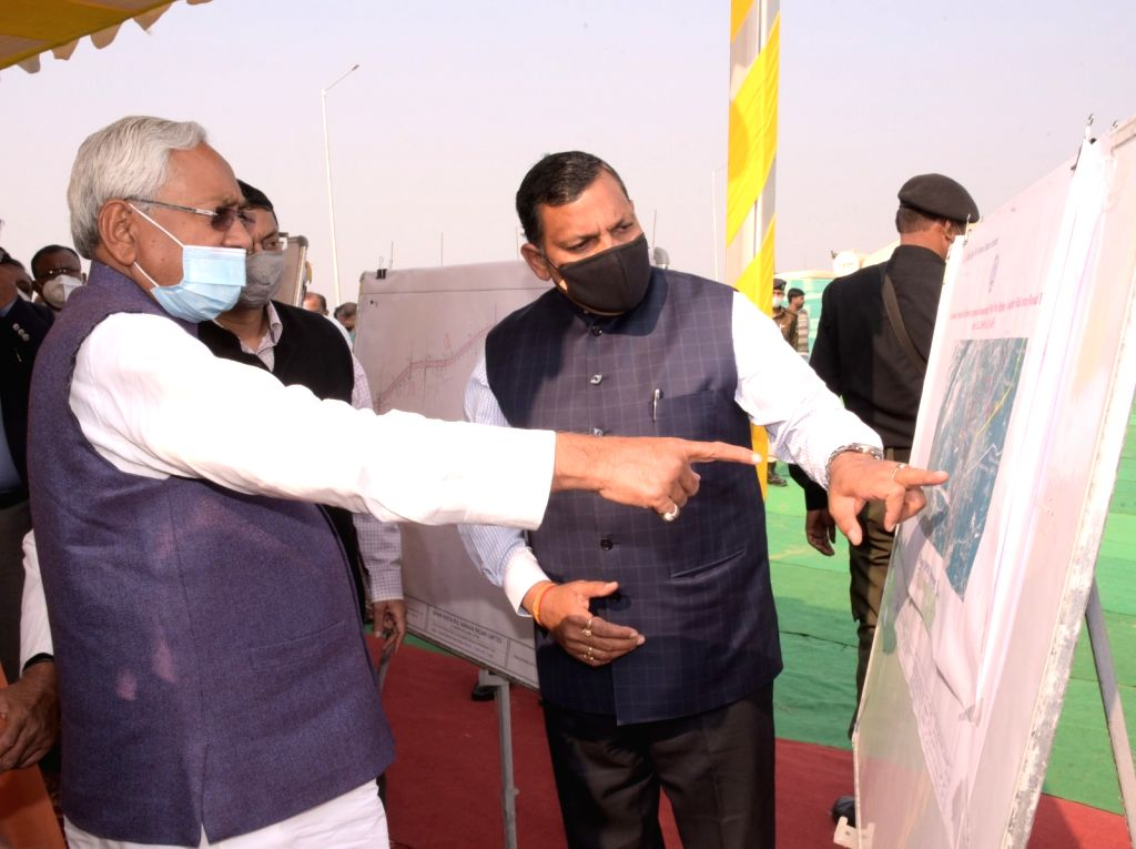 Bihar Chief Minister Nitish Kumar at the inauguration of the first-of-its kind 12.47km-long AIIMS-Digha elevated road in Patna on Nov 30, 2020. - Nitish Kumar