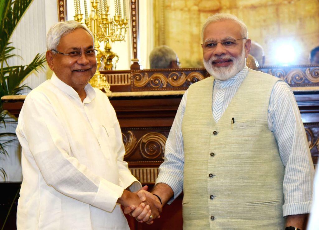 Bihar Chief Minister Nitish Kumar calls on Prime Minister Narendra Modi, in New Delhi on May 27, 2017. - Nitish Kumar and Narendra Modi