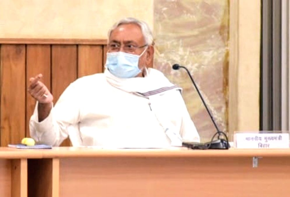 Bihar Chief Minister Nitish Kumar chairs a review meeting, in Patna on Aug 13, 2020. - Nitish Kumar