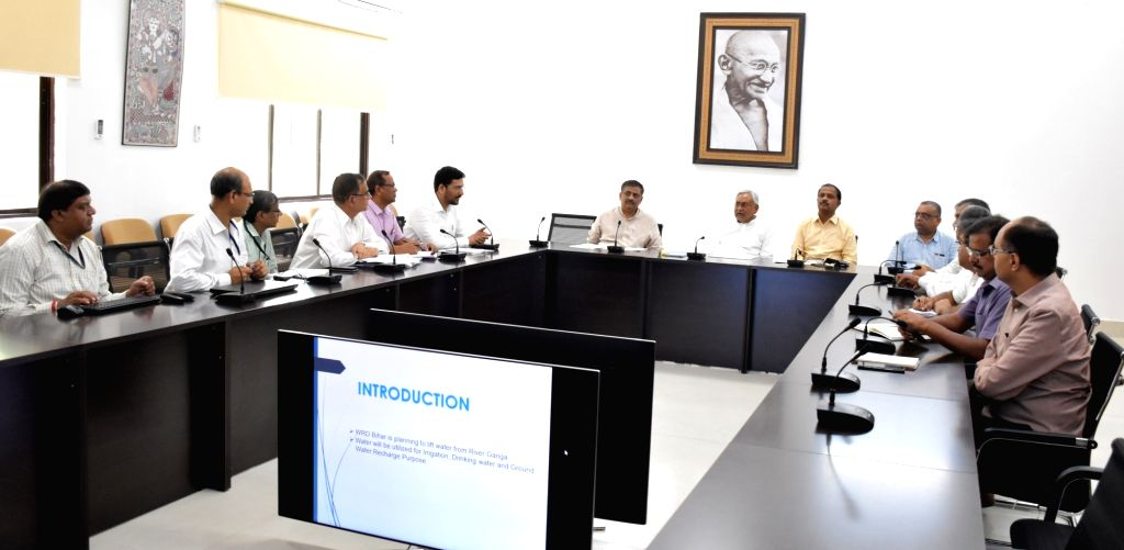 Bihar Chief Minister Nitish Kumar chairs a review meeting with the Water Resources department, in Patna on Sep 5, 2019. - Nitish Kumar