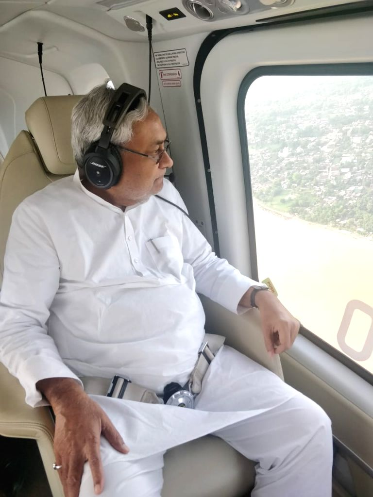 Bihar Chief Minister Nitish Kumar conducts aerial survey of flood hit areas of the state on July 16, 2019. - Nitish Kumar