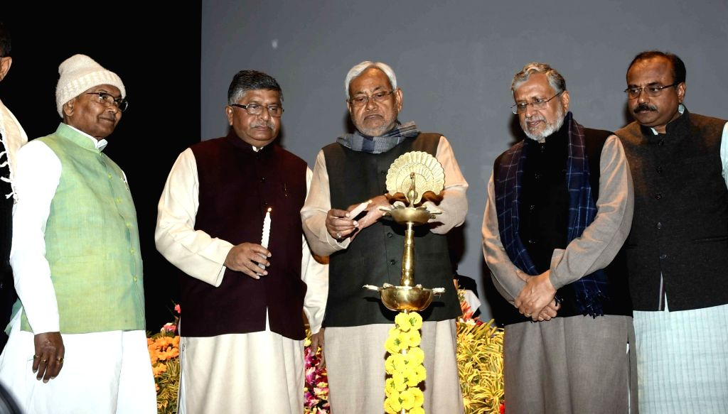 Bihar Chief Minister Nitish Kumar, Deputy Chief Minister Sushil Kumar Modi and Union Electronics and Information Technology Minister Ravi Shankar Prasad during the inauguration of STPI New ... - Nitish Kumar and Sushil Kumar Modi
