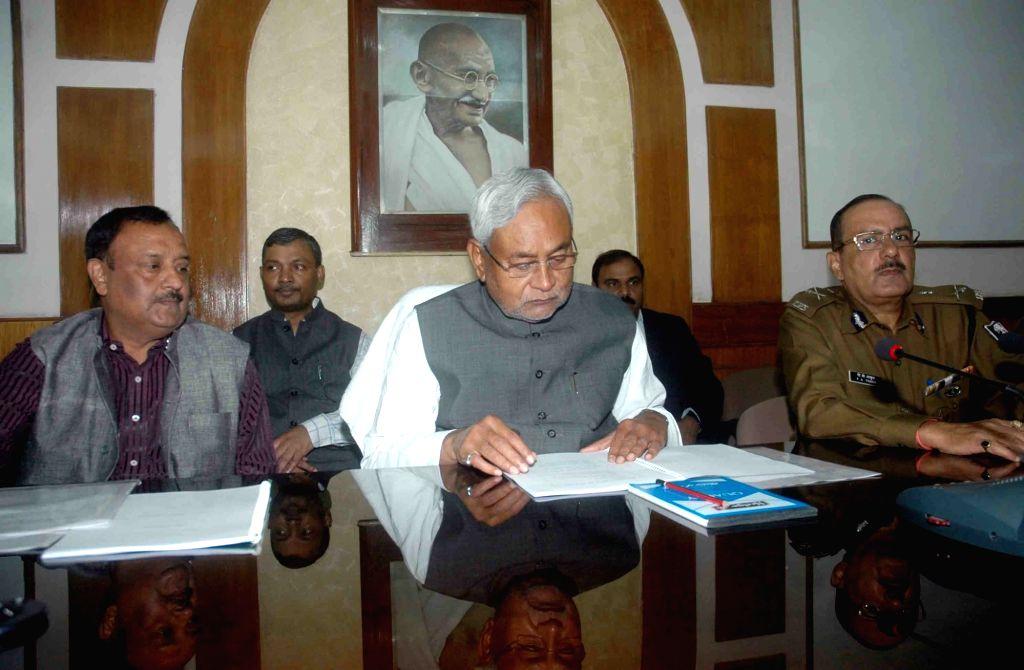 Bihar Chief Minister Nitish Kumar during a meeting at the secretariat in Patna on Nov 21, 2015.