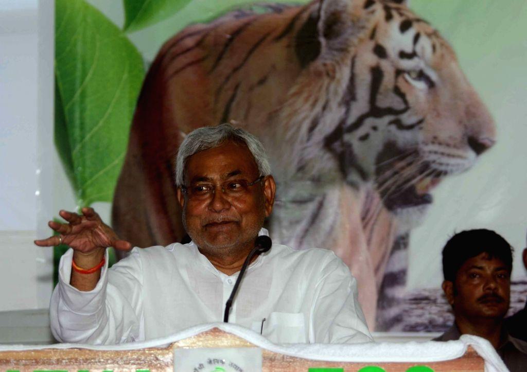 Bihar Chief Minister Nitish Kumar during a programme on Wildlife Week organised at Patna Zoo on Oct 3, 2016. - Nitish Kumar