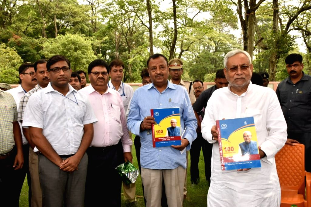 Bihar Chief Minister Nitish Kumar during a programme organised to unveil the booklets produced by Grievance Redressal Office, West Champaran; in Patna on May 23, 2018. - Nitish Kumar