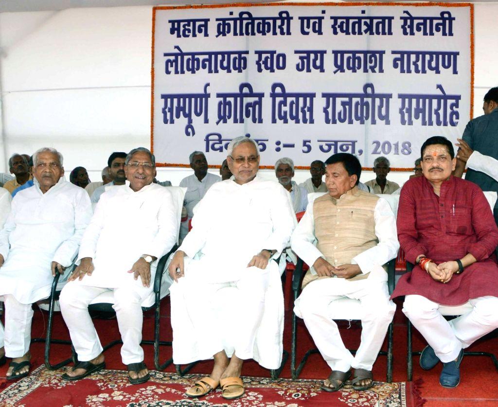 "Bihar Chief Minister Nitish Kumar during a programme organised on ""Sampoorna Kranti Diwas"" in Patna, on June 5, 2018. - Nitish Kumar"