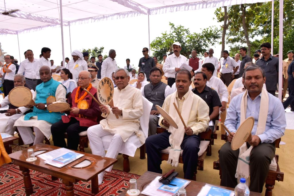 Bihar Chief Minister Nitish Kumar during a programme organised on the 49th Annual Ceremony of the Viswa Shanti Stupa in Bihar's Rajgir on Oct 25, 2018. - Nitish Kumar