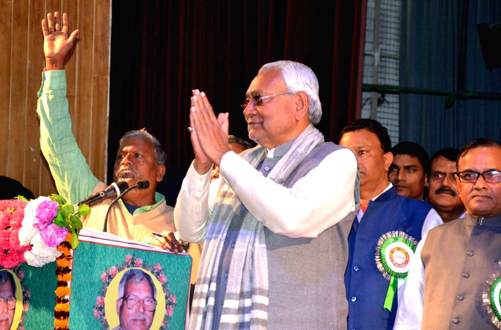 Bihar Chief Minister Nitish Kumar during a nprogramme organised to mark the birth anniversary celebrations of Former Bihar Chief Minister Late Karpoori Thakur, in Patna on Jan 24, 2020. - Nitish Kumar