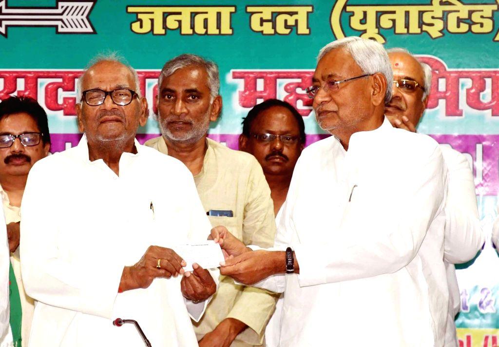Bihar Chief Minister Nitish Kumar during a JD(U) programme in Patna on June 8, 2019. - Nitish Kumar