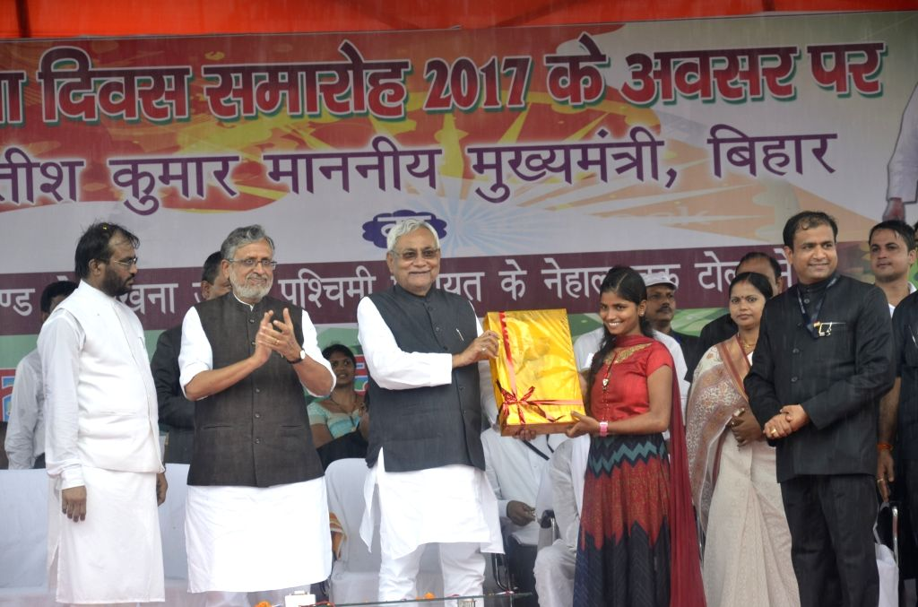 Bihar Chief Minister Nitish Kumar during an Independence Day programme in Patna on Aug 15, 2017. - Nitish Kumar