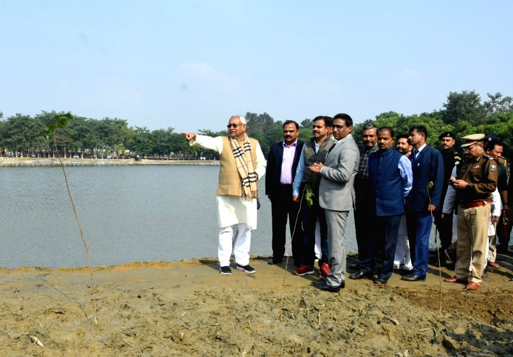Bihar Chief Minister Nitish Kumar during an inspection of development and beautification work of Pokhara, on Dec 3, 2019. - Nitish Kumar