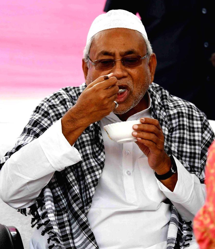 Bihar Chief Minister Nitish Kumar during Eid-ul-Fitr celebrations, in Patna, on June 5, 2019. - Nitish Kumar