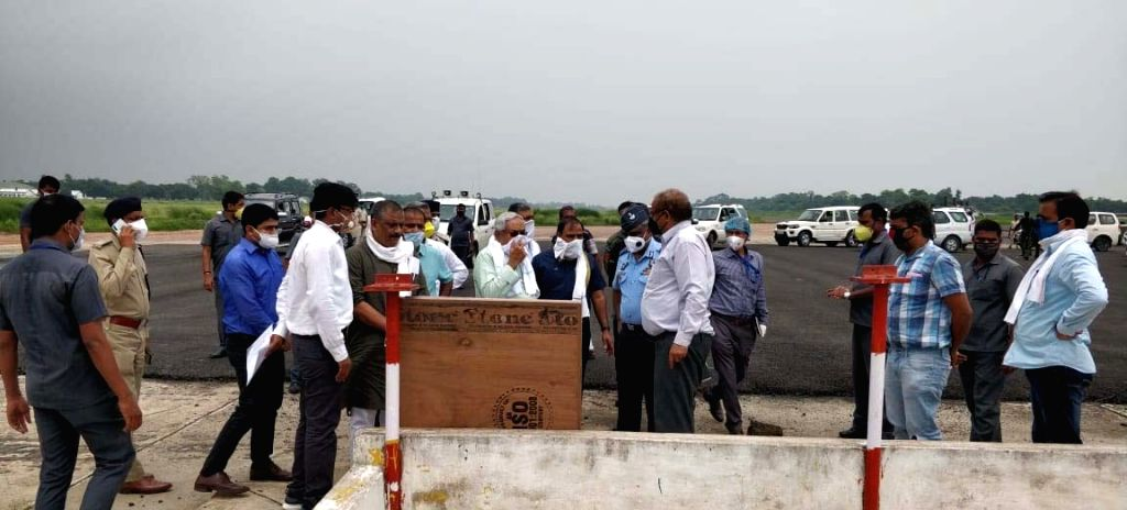 Bihar Chief Minister Nitish Kumar during his visit to inspect the construction work at Darbhanga Airport on June 24, 2020. - Nitish Kumar