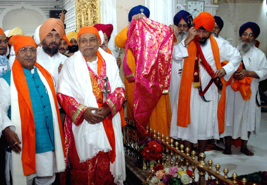 Bihar Chief Minister Nitish Kumar during his visit to Takht Sri Patna Sahib on April 8, 2018. - Nitish Kumar