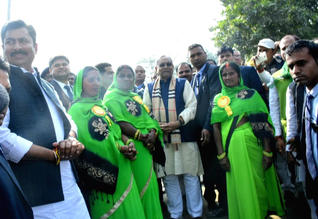 Bihar Chief Minister Nitish Kumar during his visit to Pipra to take stock of the implementation of various public welfare schemes, in Bihar's Supaul district on Dec 4, 2019. - Nitish Kumar
