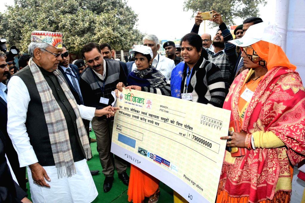 Bihar Chief Minister Nitish Kumar during 'Jal Jivan Hariyali Yatra' at Tajpur in Samastipur district on Dec 12, 2019. - Nitish Kumar