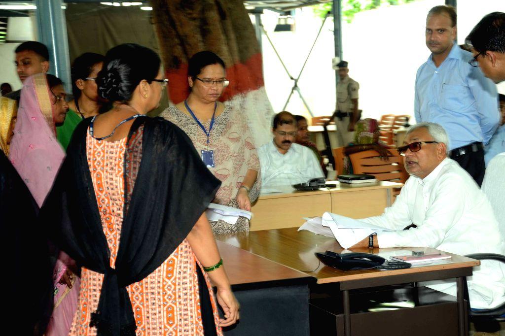 Bihar Chief Minister Nitish Kumar during Janata Durbar in Patna, on Aug 17, 2015.