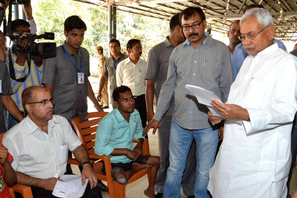 Bihar Chief Minister Nitish Kumar during Janata Durbar in Patna, on April 11, 2016. - Nitish Kumar