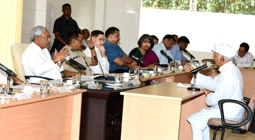 Bihar Chief Minister Nitish Kumar during Lok Samvad programme at Samvad Bhawan in Patna on Sept 11, 2017. - Nitish Kumar