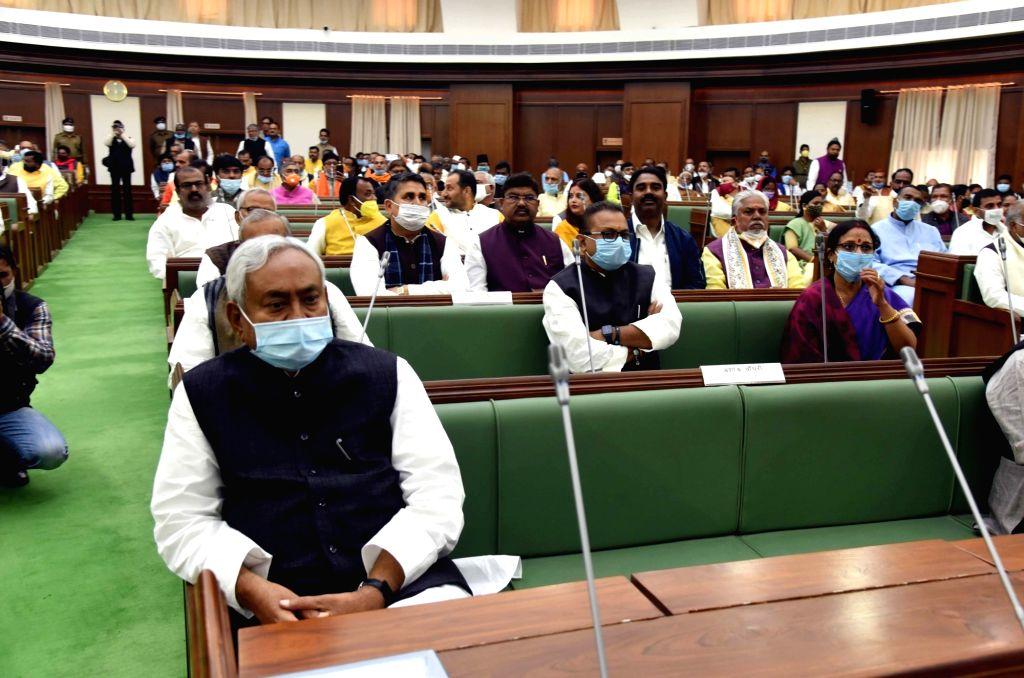 Bihar Chief Minister Nitish Kumar during the joint sitting of both Houses of State legislature, in Patna on Nov 26, 2020. - Nitish Kumar