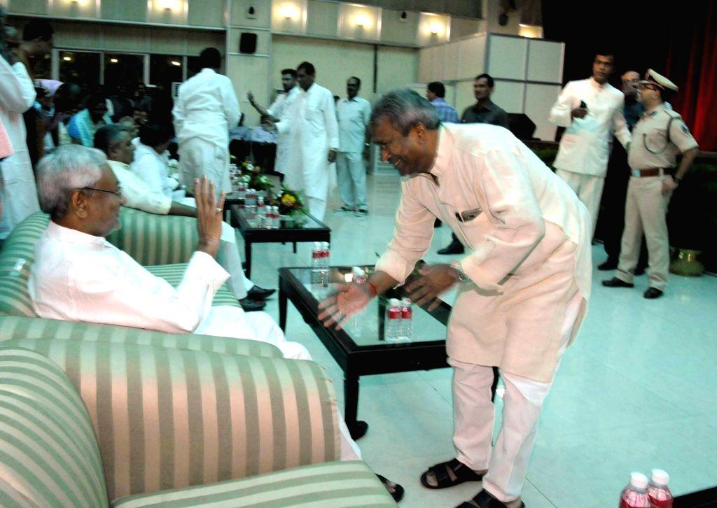 Bihar Chief Minister Nitish Kumar during the swearing in ceremony of Bihar's cabinet ministers at Raj Bhavan in Patna on July 29, 2017. - Nitish Kumar