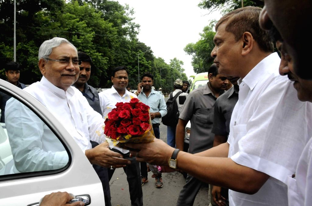 Bihar Chief Minister Nitish Kumar during the launch of ambulance services in Patna on Aug 12, 2017. - Nitish Kumar