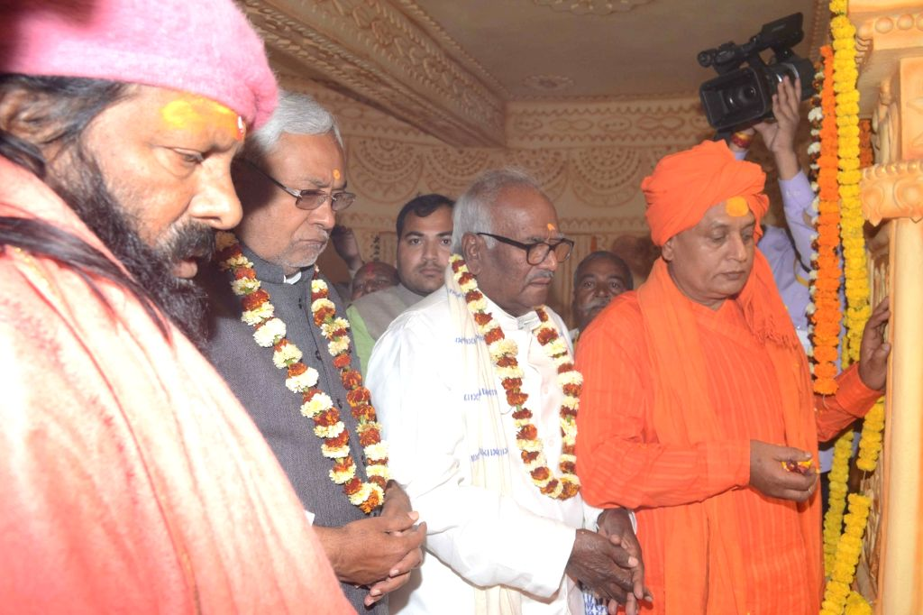 Bihar Chief Minister Nitish Kumar during the inauguration of Lord Buddha statue at Shri Pilot Baba Ashram in Patna on Feb 7, 2018. - Nitish Kumar