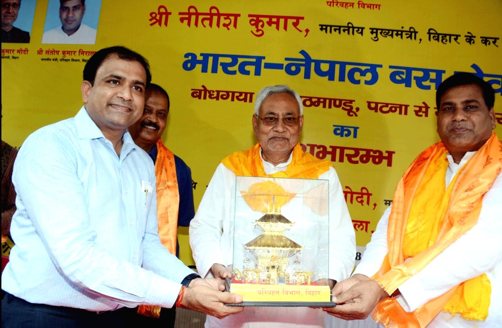 Bihar Chief Minister Nitish Kumar during the flagging off ceremony of the Indo-Nepal Bus Service from Bodh Gaya to Kathmandu and Patna to Janakpur; in Patna on Sept 11, 2018. - Nitish Kumar