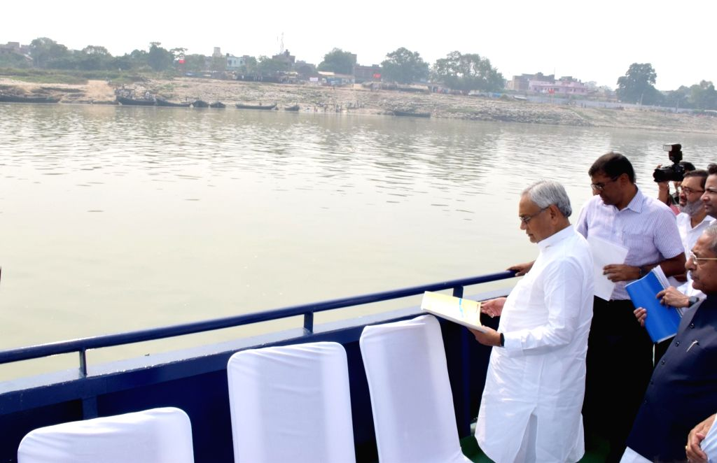 Bihar Chief Minister Nitish Kumar during the inspection of Chhath Puja preparations at Ganga Ghat in Patna on Nov 3, 2018. - Nitish Kumar