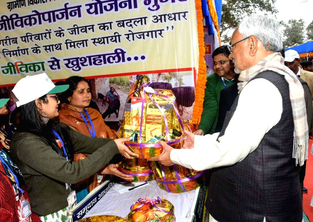 "Bihar Chief Minister Nitish Kumar during the launch of ""Jal Jeevan Hariyali"" rally in Bihar's Munger on Jan 10, 2020. - Nitish Kumar"