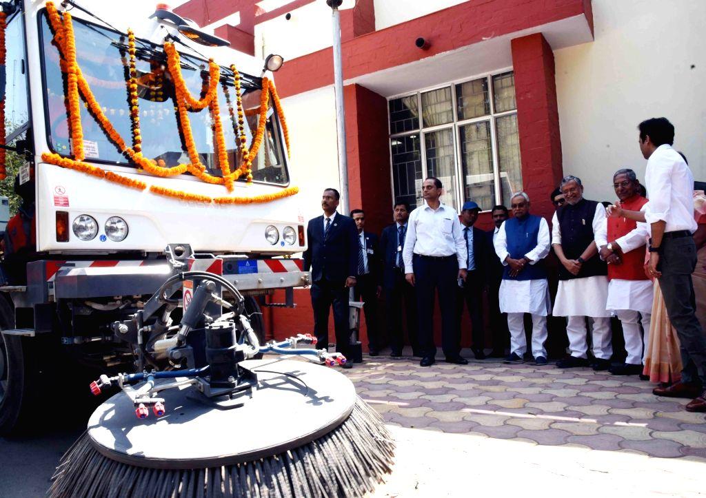Bihar Chief Minister Nitish Kumar flags off Road Sweeping Machines in Patna, on March 6, 2019. - Nitish Kumar