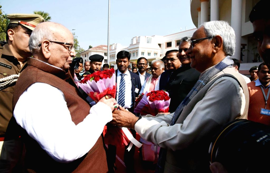 Bihar Chief Minister Nitish Kumar greets Governor Lalji Tandon on the first day of state assembly's budget session in Patna on Feb 11, 2019. - Nitish Kumar