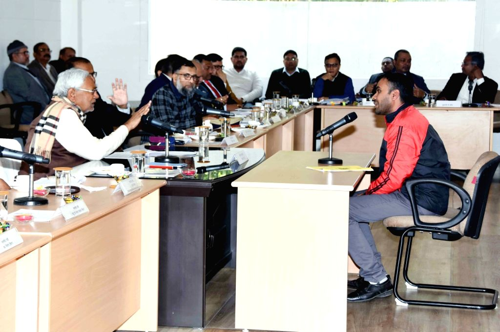 Bihar Chief Minister Nitish Kumar hears people's grievances during 'Lok Samvad' programme, in Patna on Jan 27, 2020. - Nitish Kumar