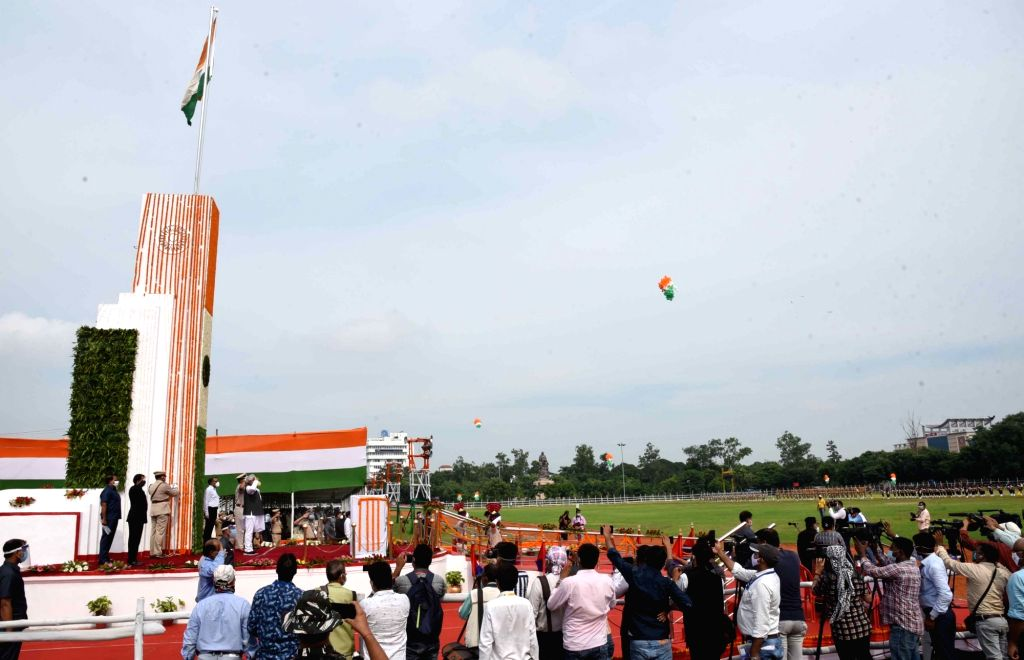 Bihar Chief Minister Nitish Kumar hoists the tricolor during the 74th Independence Day celebrations at Gandhi Maidan in Patna on Aug 15, 2020. - Nitish Kumar